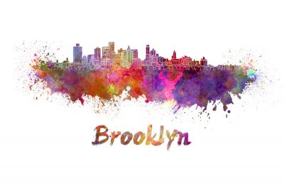 Affisch Brooklyn skyline i vattenfärg