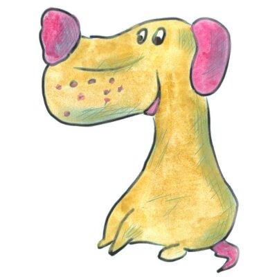Affisch brun hund med rosa öron tecknad vattenfärg isolerat