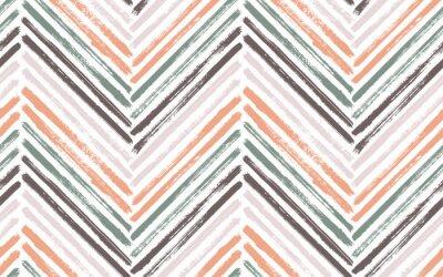Affisch Brush stroke chevron zig zag seamless pattern.