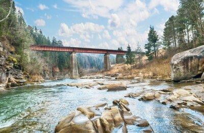 Affisch brygga på berget river