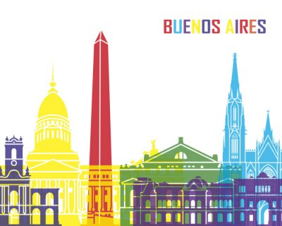 Affisch Buenos Aires skyline pop