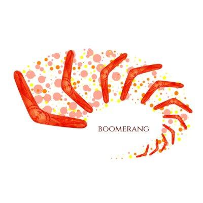 Affisch Bumerang i rörelse. Imitation av akvarell. Boomerang som en symbol för Australien. Isolerade vektor illustration.