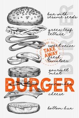 Affisch Burger illustration for food restaurant and truck on vintage background.