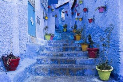 Affisch Calles de la hermosa ciudad azul de Chefchaouen, Marruecos