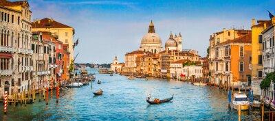 Affisch Canal Grande panorama vid solnedgången, Venedig, Italien