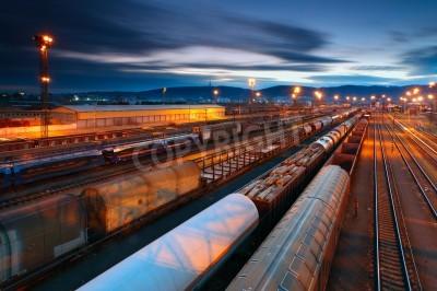 Affisch Cargo transportatio med tåg och järnvägar