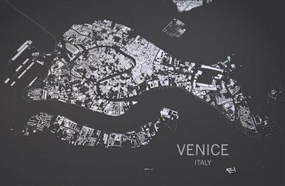 Affisch Cartina di Venezia, Italia, vista satellitare, mappa 3d