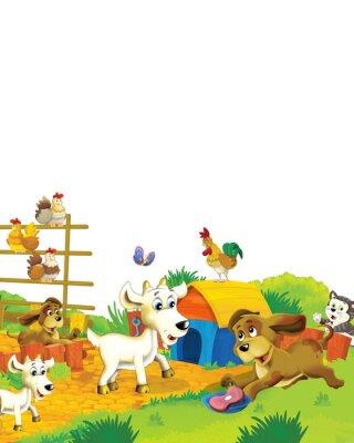 Affisch Cartoon farm scene with animal goat having fun on white background - illustration for children