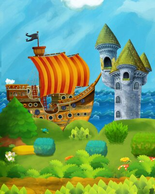 Affisch cartoon forest scene with prince and princess standing on path near the forest and sea shore and pirate ship is docked hidden and castle tower - illustration for children