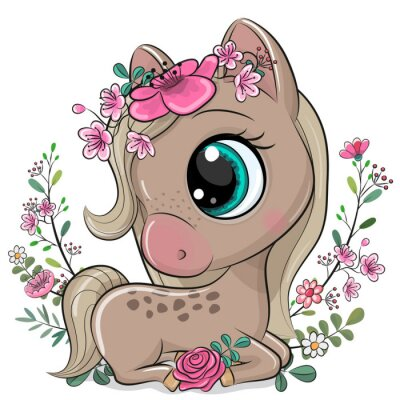 Affisch Cartoon Horse with flowers on a white background