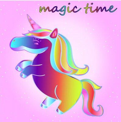 Affisch cartoon neon enhörning med stjärnor på en rosa gradientbakgrund - en tid av äventyr och en tid av magi