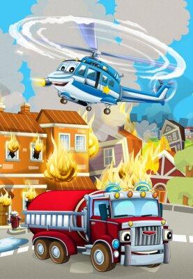 Affisch cartoon scene with fireman car vehicle near burning building - illustration for children