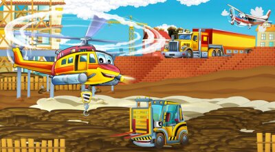 Affisch cartoon scene with industry cars on construction site and flying helicopter - illustration for children