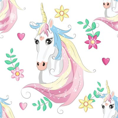 Affisch Cartoon seamless pattern. Unicorn with rainbow and clouds. For designed print.