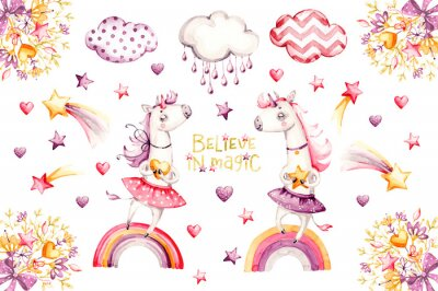 Affisch Cartoon unicorn set. watercolor for decoration design. Funny pink animal princess collection. Princess rainbow poster. Nursery cute print. Decoration element. Magic fantasy design.