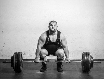 Affisch Champion Powerlifter med starka armar lyft vikter