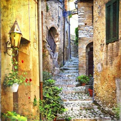 Affisch charmiga gamla gatorna i Medelhavet
