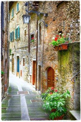 Affisch charmiga gamla gatorna i medeltida städer i Italien