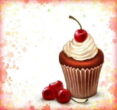 Affisch Cherry chokladmuffin på akvarell bakgrund