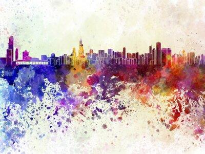 Affisch Chicago skyline i vattenfärg bakgrund