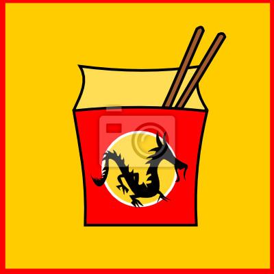 Affisch Chinese fastfood restaurang logotyp