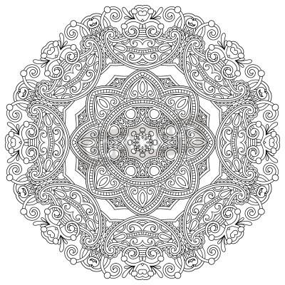 Affisch Cirkel prydnad, svart och vitt prydnads rund spets
