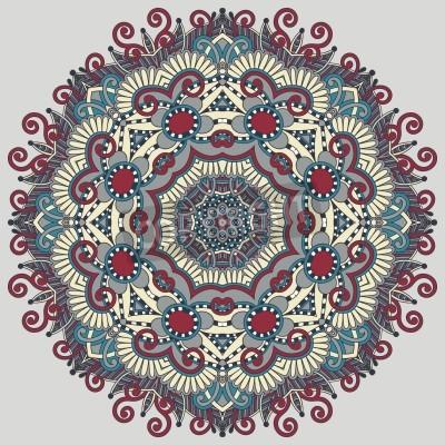Affisch Cirkel spets prydnad, runda dekorativa geometriska duken mönster