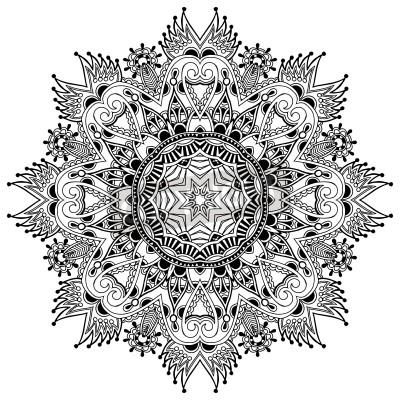 Affisch Cirkel spets prydnad, runda dekorativa geometriska duken mönster, svart och vitt insamling