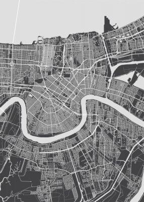 Affisch City map New Orleans, monochrome detailed plan, vector illustration