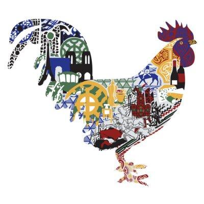 Affisch Cock med mönster francs