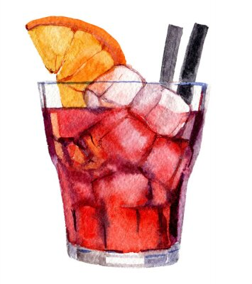 Affisch Cocktail with ice and orange isolated on white background, watercolor illustration