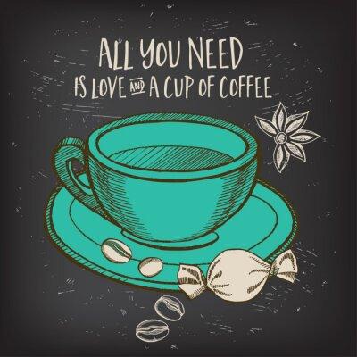Affisch Coffee café menyn, malldesign.