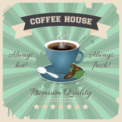 Affisch Coffee house affischdesign med kopp kaffe i retrostil.