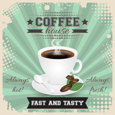 Affisch Coffee house grunge affischdesign med halvton effekt. Kaffekopp, sked, kaffebönor, tallrik, blad och ånga.