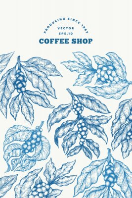 Affisch Coffee tree branch vector illustration. Vintage coffee background. Hand drawn engraved style illustration.