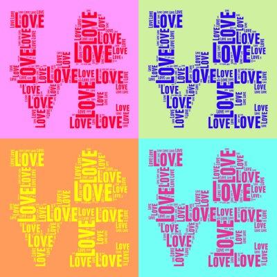 Affisch Collage av färgglada tappning pop konst stil ord moln KÄRLEK