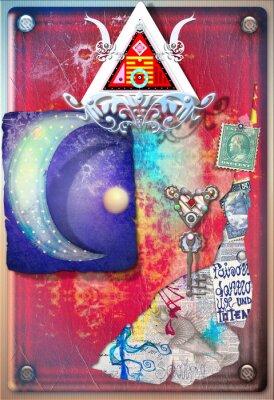 Affisch Collage bakgrund med färgade, alkemiska klipp, starry månen och