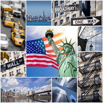 Affisch Collage carré New York - USA