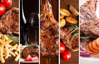 Affisch Collage från foto av grillat kött