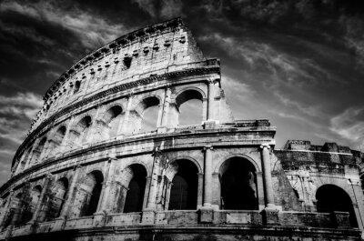 Affisch Colosseum i Rom, Italien. Amphitheatre i svart och vitt