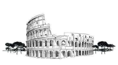 Affisch Colosseum i Rom, Italien. Landmark Coliseum, stadsbilden.