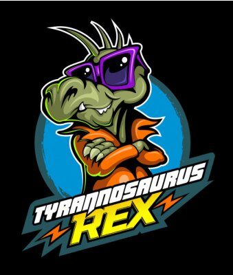 Affisch Comic book, cartoon style tyrannosaurus in the leather jacket and with the sunglasses, vector image