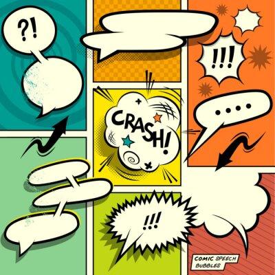 Affisch Comic Book Pratbubblor. En uppsättning av färgstarka och retro serietidning designelement med pratbubblor! Vektor illustration.