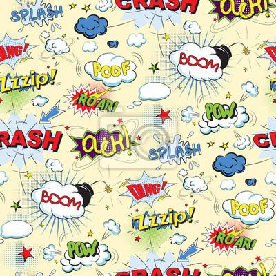Affisch Comic svart pratbubblor i popkonststil seamless