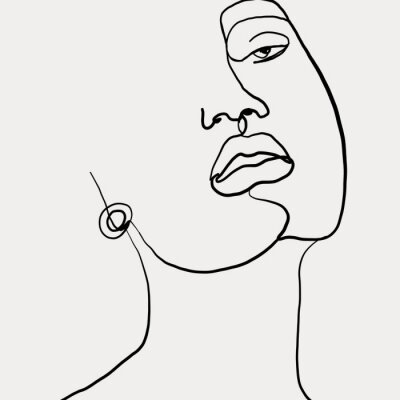 Affisch Continuous line, drawing of beauty woman face with earring , fashion concept, woman beauty minimalist, vector illustration for t-shirt slogan design print graphics style. One line fashion illustration