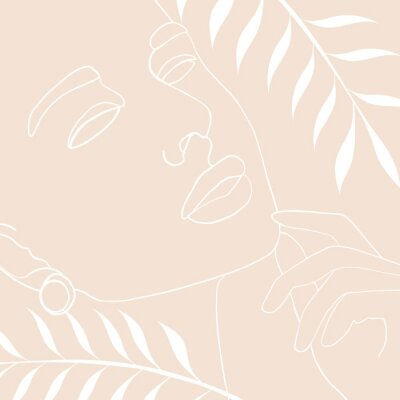 Affisch Continuous line, drawing of woman face, fashion concept, woman beauty minimalist with geometric doodle Abstract floral elements pastel colors. One line continuous drawing. vector illustration