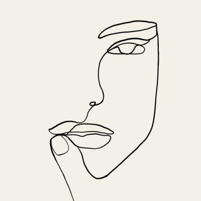 Affisch Continuous line, drawing of woman face with hand on face , fashion concept, woman beauty minimalist, vector illustration for t-shirt, slogan design print graphics style. One line fashion illustration
