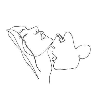 Affisch Continuous one line beautiful woman and man kisses passionately