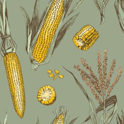 Affisch Corn on the cob vintage design seamless pattern