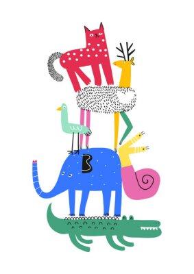 Affisch Cute animals. T-shirt graphics for kids vector illustration. Fun cartoon animals pyramid greeting card.